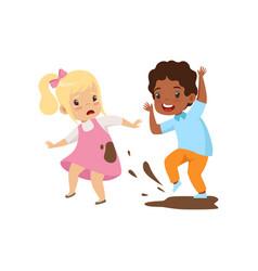 Boy dirtying girl with dirt bad behavior vector