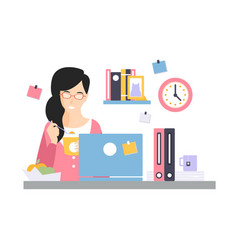 brunette businesswoman character having a launch vector image