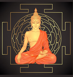 buddha over sri yantra or sri chakra form of vector image
