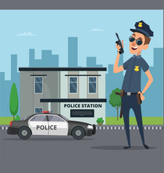 building police station and cartoon character vector image