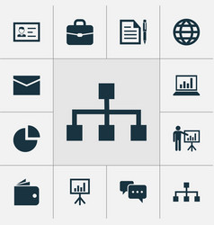 business icons set with whiteboard briefcase vector image