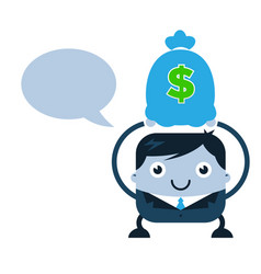 business man holding bag of money vector image