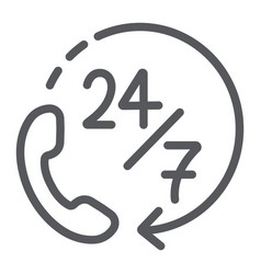 call 24 7 line icon service and assistance vector image