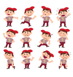 cartoon character white boy with red cap set vector image