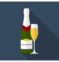 Champagne bottle with glass flat design modern vector