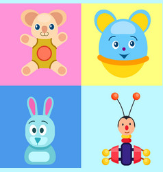 Children toys on colorful backgrounds poster vector