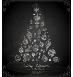 Christmas Tree on Chalk Board vector