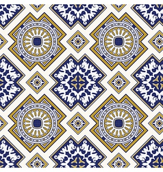 Classic vintage seamless pattern in blue vector