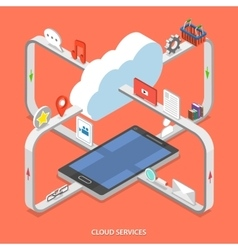 Cloud services flat isometric concept vector