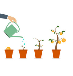 colored money tree dependence financial growth vector image