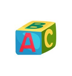 Colorful cube with letters toy for children s vector