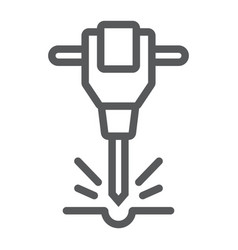 construction jackhammer line icon tool vector image