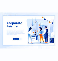 corporate leisure flat web page design template vector image