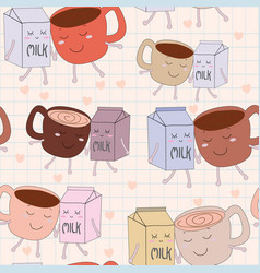 cute cartoon coffee cup and milk seamless pattern vector image