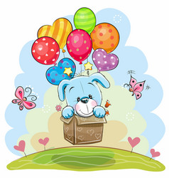 Cute cartoon puppy with balloons vector