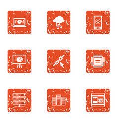 Data point icons set grunge style vector