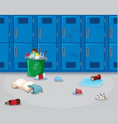 Dirty school hallway background vector