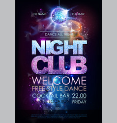 Disco ball background disco night club poster on vector