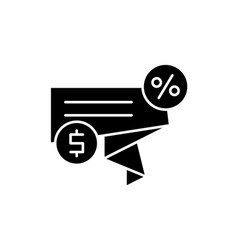 discount sales black icon sign on isolated vector image