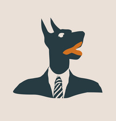 doberman dog dressed up in black suit vector image