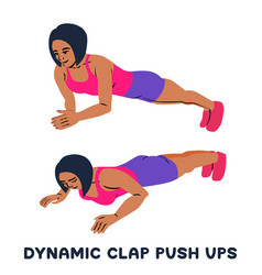 Dynamic clap push ups sport exersice silhouettes vector