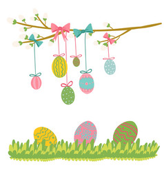 easter egg hanging on tree vector image