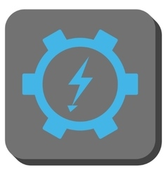 Electric Energy Gear Wheel Rounded Square Button vector