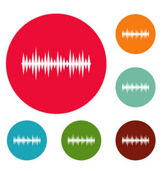 equalizer melody icons circle set vector image
