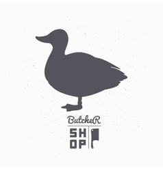 Farm bird silhouette Duck meat Butcher shop vector