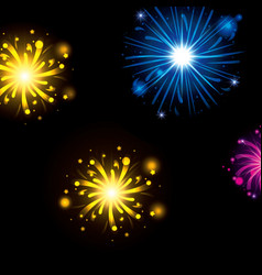 fireworks bursting in glowing colours yellow blue vector image