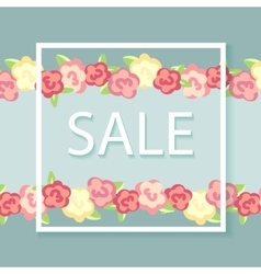 floral background with text sale vector image