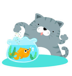 Fluffy cat feeding happy goldfish vector