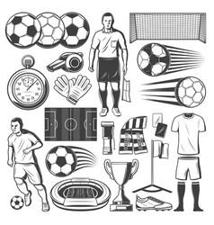 football or soccer sport equipment symbols vector image