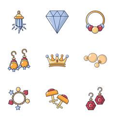 gemstone icons set cartoon style vector image