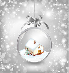 Glass ball Christmas with a little house snow fir vector image