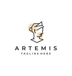 Goddess greek artemis line art logo design vector