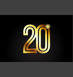 Gold number 20 logo icon design vector