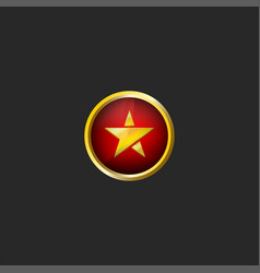 gold star logo in a golden frame on a red vector image