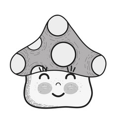 grayscale kawaii fangus happy cheeks and close vector image