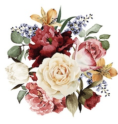 Greeting card with roses watercolor can be used vector