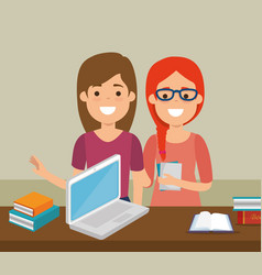 group of students with online education vector image