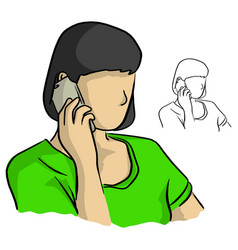 half portrait woman using mobile phone vector image