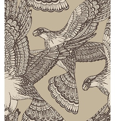 hand drawn seamless pattern with decorative eagles vector image