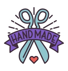 Handmade needlework badge logo vector