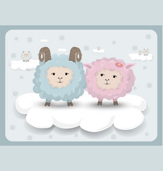 happy easter card with sheep couple vector image