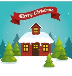 Happy merry christmas landscape vector