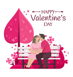 happy valentines day loving couple kissing vector image