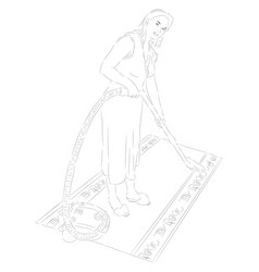 Housewife with a vacuum cleaner vector