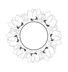 Indian lotus outline banner wreath vector