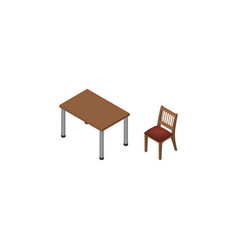 isolated table isometric chair element can vector image